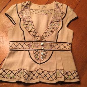 Nanette Lepore 100% linen embroidered top.